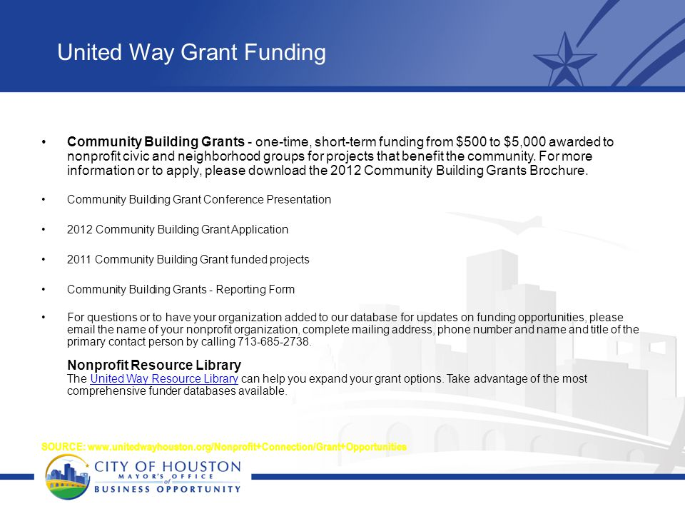 United Way Grant Funding