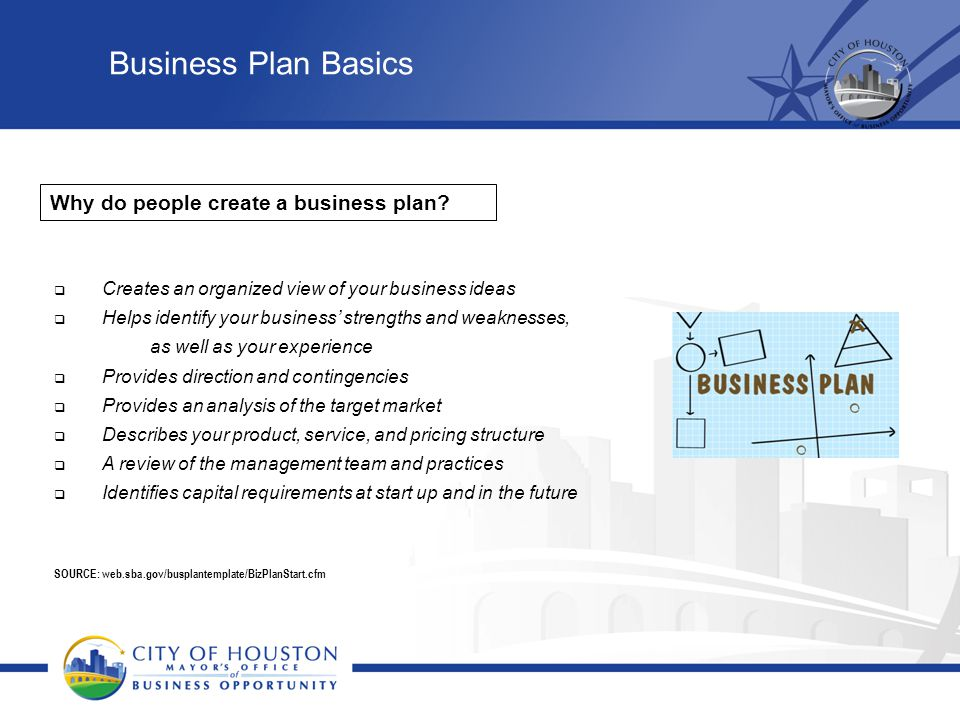 Business Plan Basics Why do people create a business plan