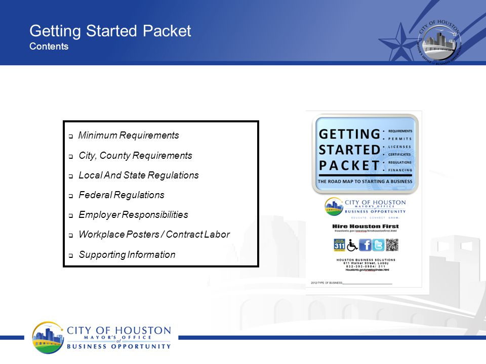 Getting Started Packet Contents