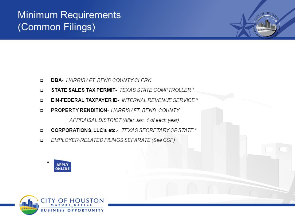Minimum Requirements (Common Filings)