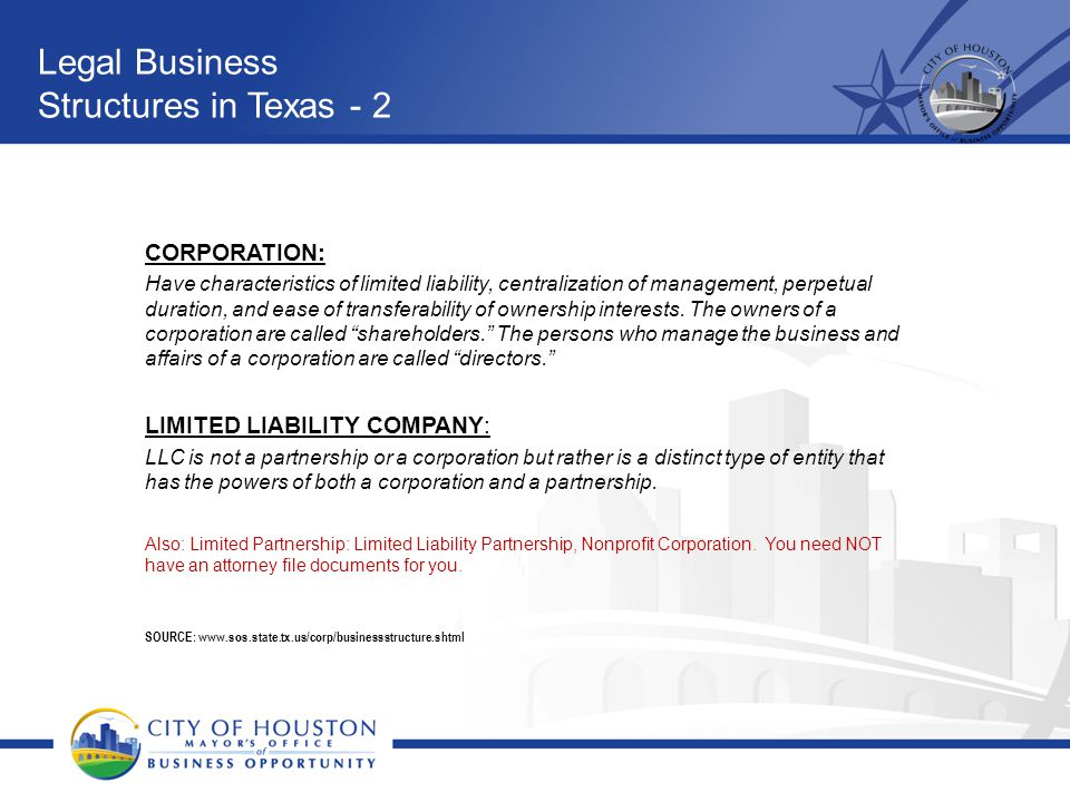 Legal Business Structures in Texas - 2