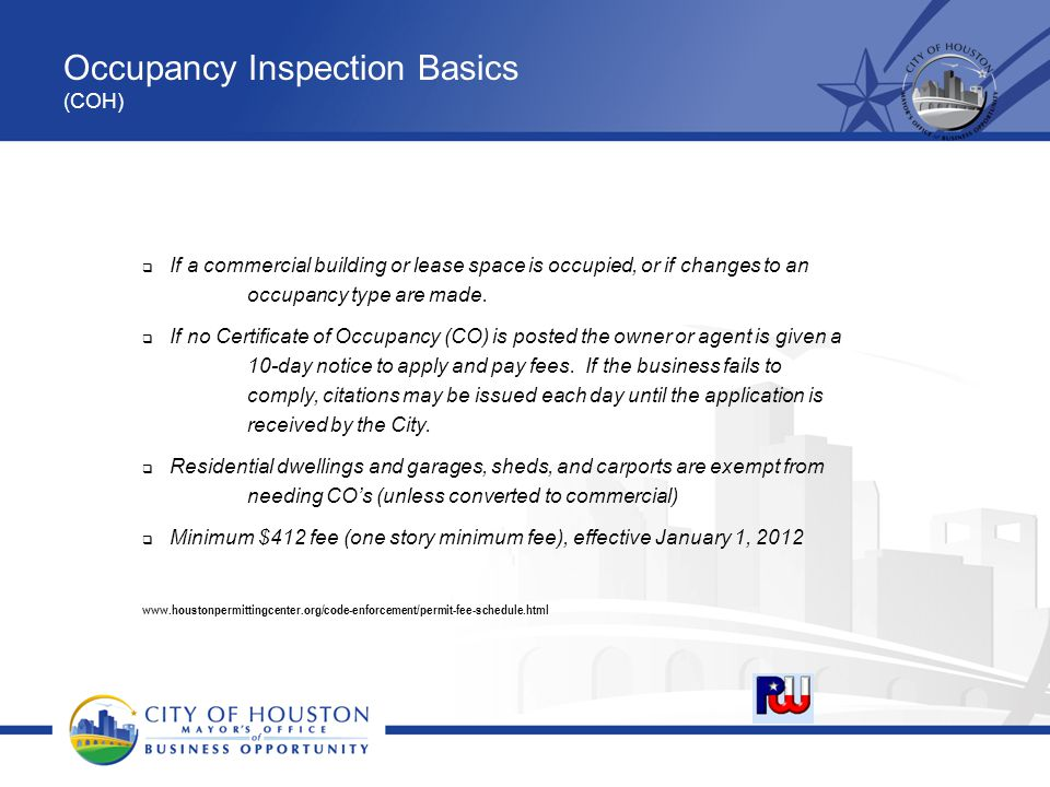 Occupancy Inspection Basics (COH)