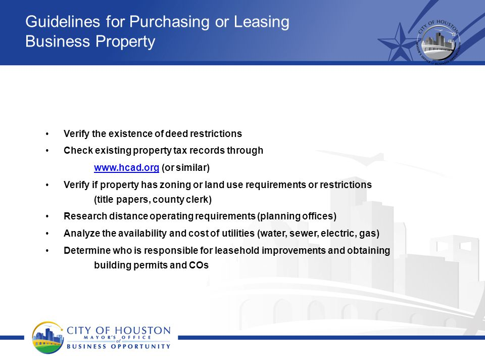 Guidelines for Purchasing or Leasing Business Property