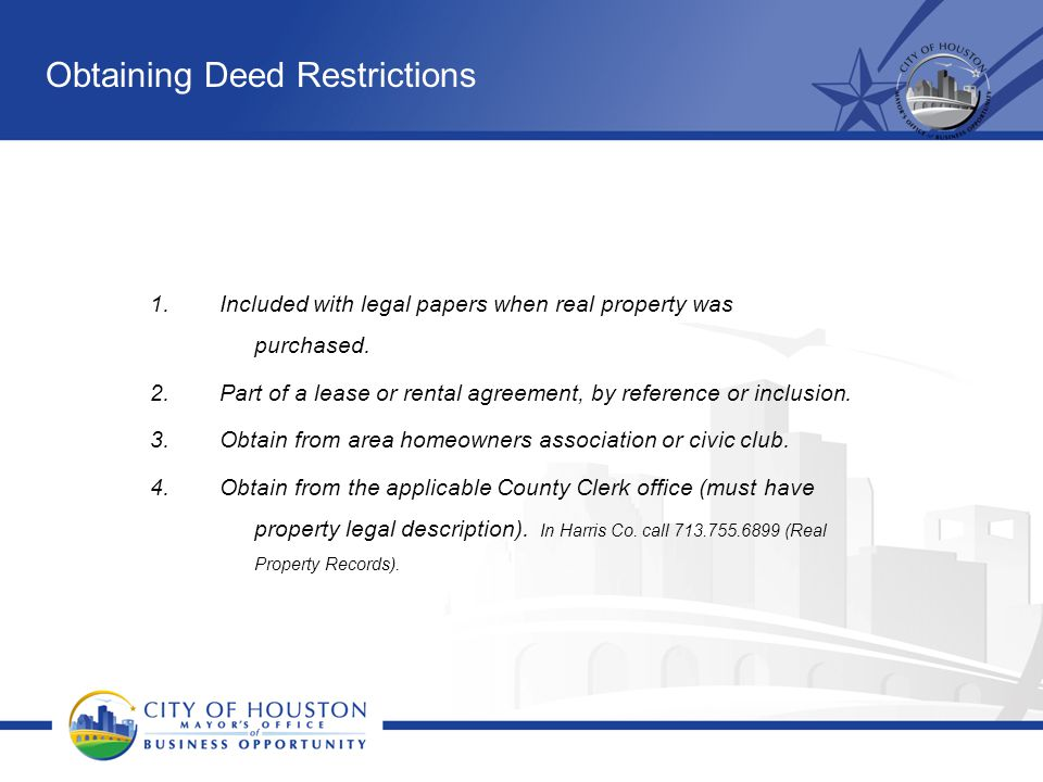 Obtaining Deed Restrictions