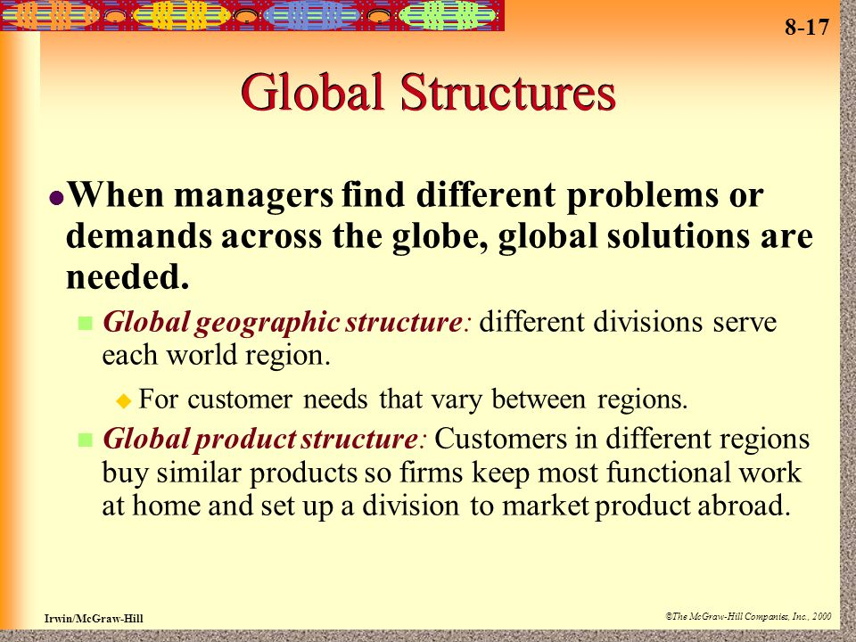 Global Structures When managers find different problems or demands across the globe, global solutions are needed.
