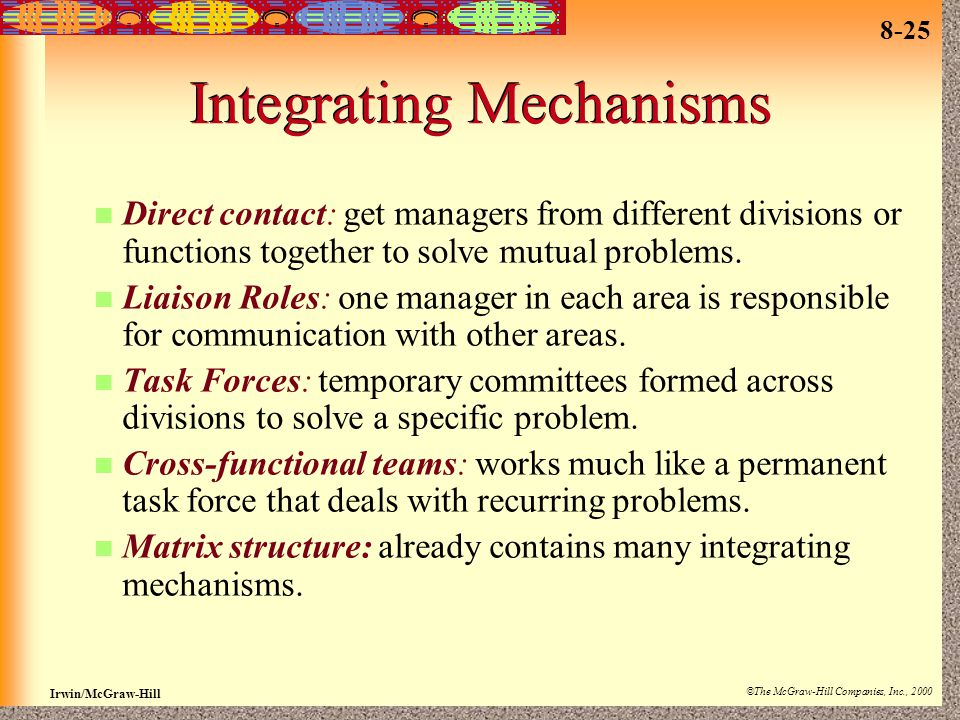 Integrating Mechanisms