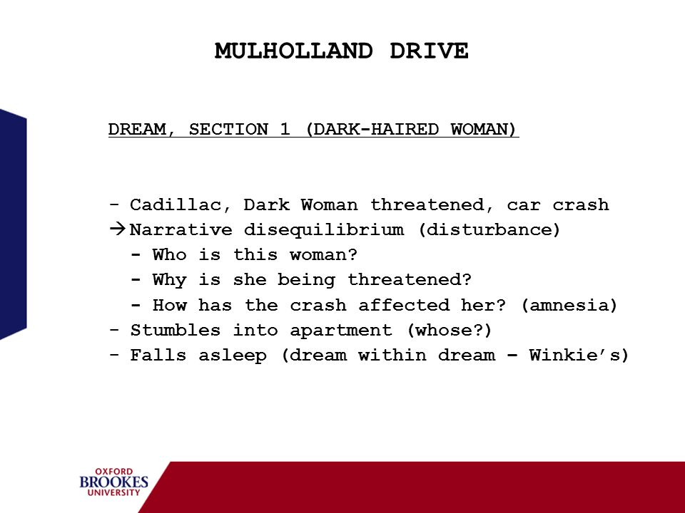 MULHOLLAND DRIVE DREAM, SECTION 1 (DARK-HAIRED WOMAN)