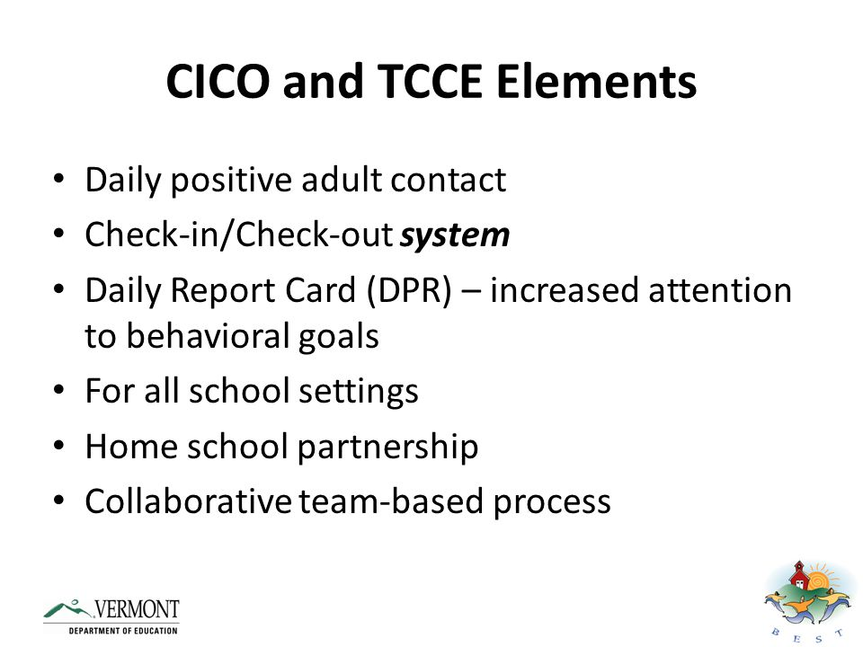 CICO and TCCE Elements Daily positive adult contact