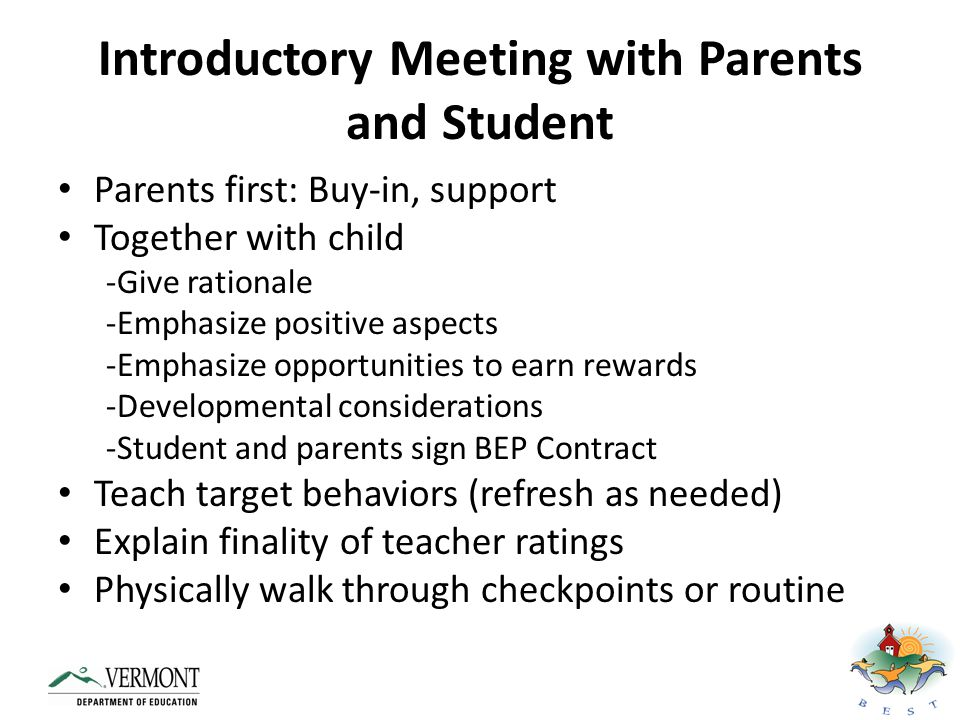 Introductory Meeting with Parents and Student
