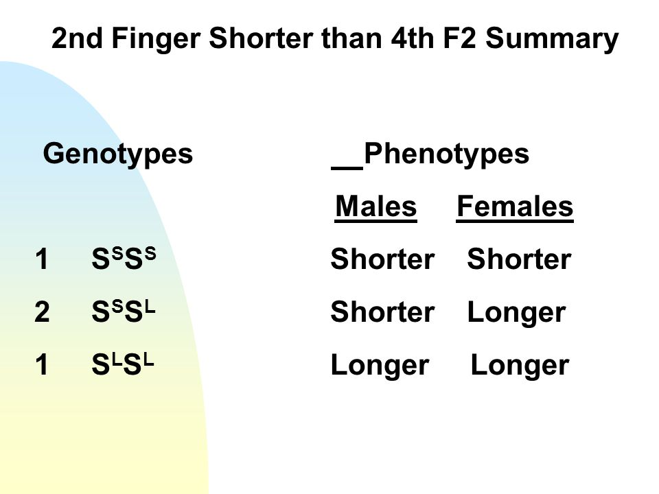 2nd Finger Shorter than 4th F2 Summary