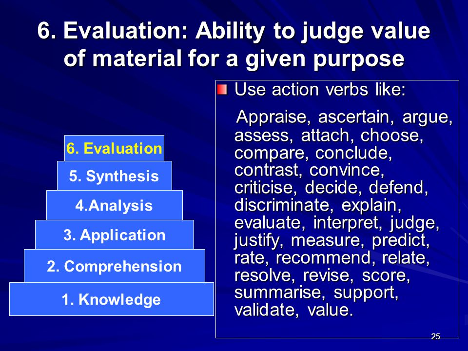 6. Evaluation: Ability to judge value of material for a given purpose