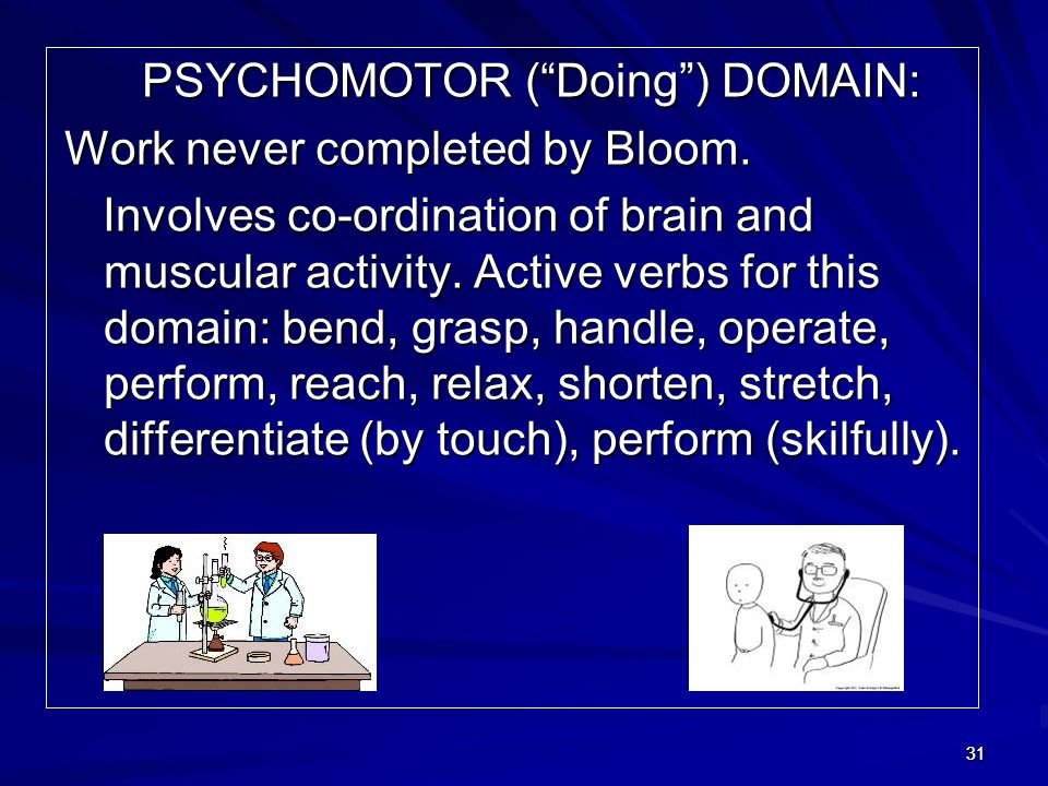 PSYCHOMOTOR ( Doing ) DOMAIN: Work never completed by Bloom.