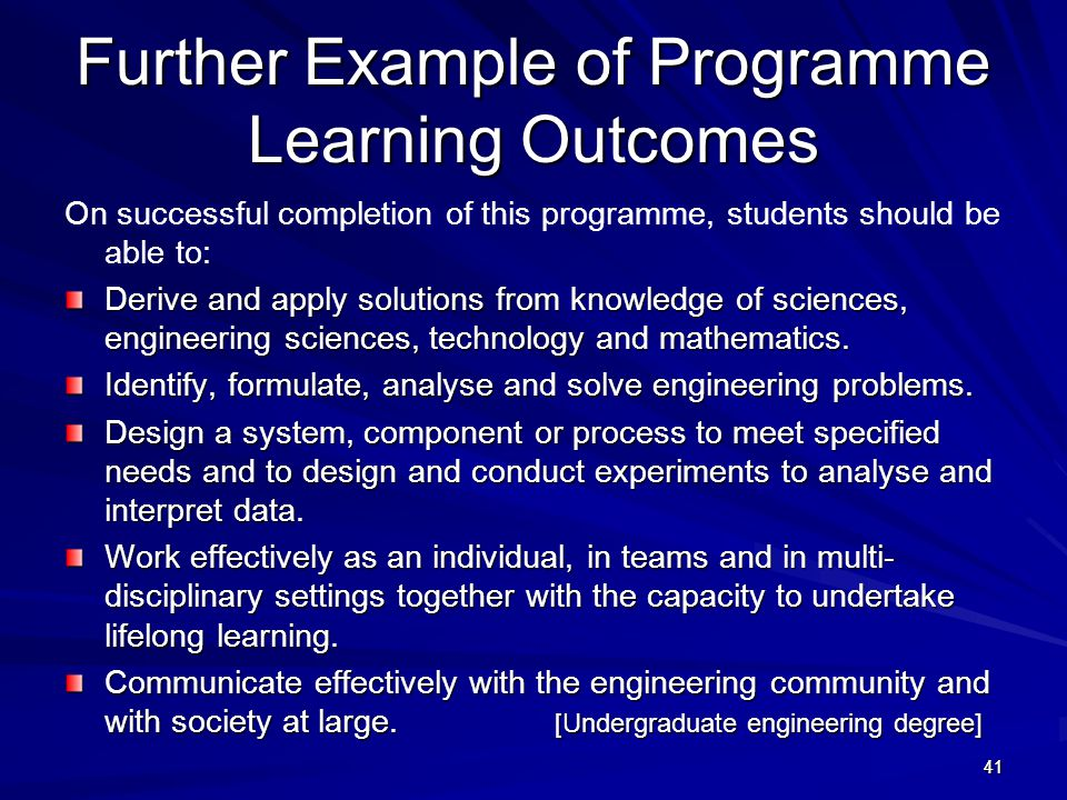 Further Example of Programme Learning Outcomes