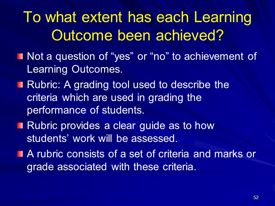 To what extent has each Learning Outcome been achieved