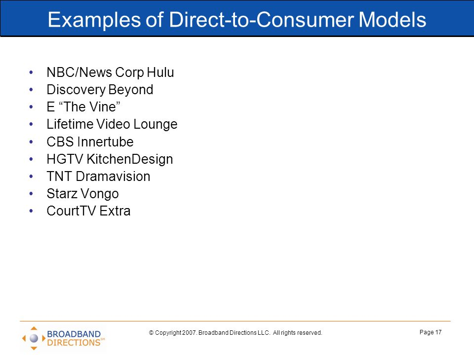 Examples of Direct-to-Consumer Models