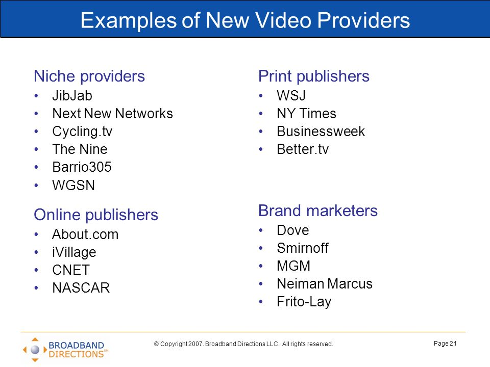 Examples of New Video Providers