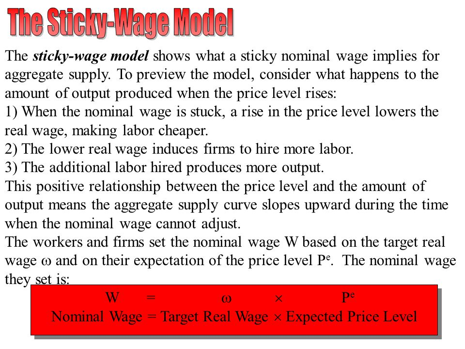 The Sticky-Wage Model The sticky-wage model shows what a sticky nominal wage implies for.