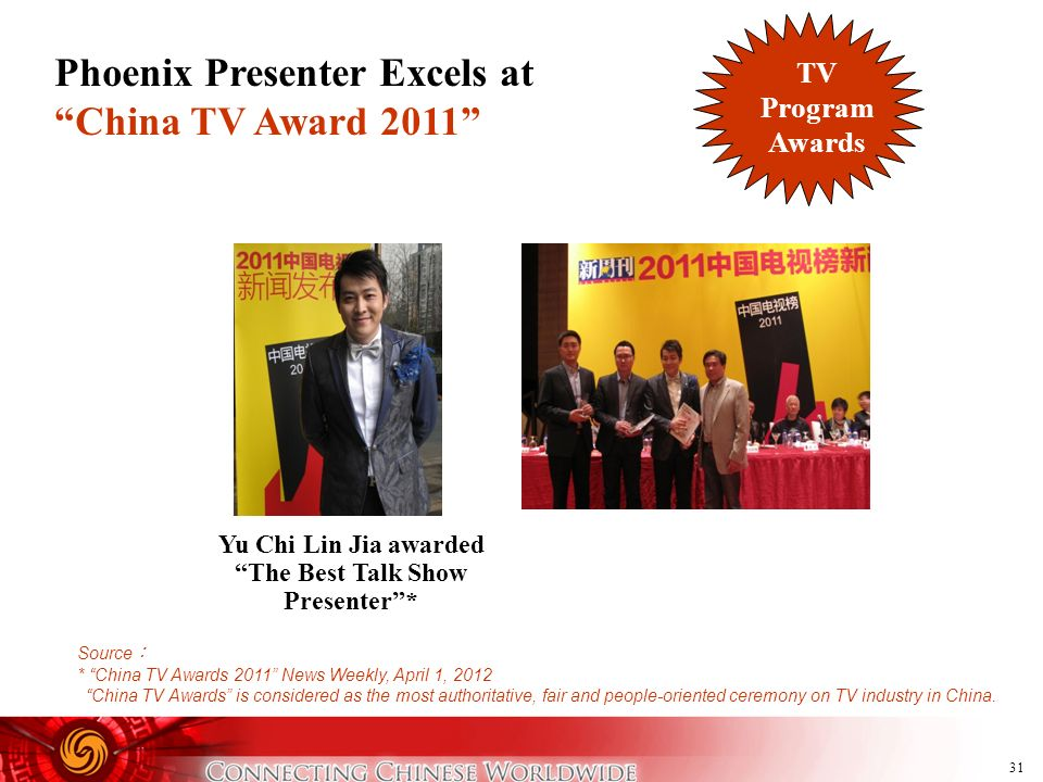 Yu Chi Lin Jia awarded The Best Talk Show Presenter *