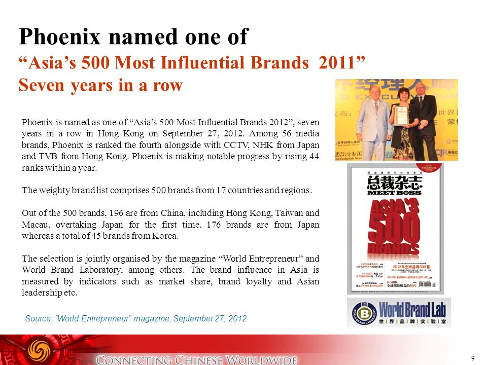 Phoenix named one of Asia's 500 Most Influential Brands 2011 Seven years in a row