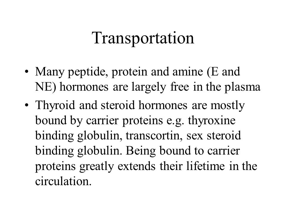 Transportation Many peptide, protein and amine (E and NE) hormones are largely free in the plasma.
