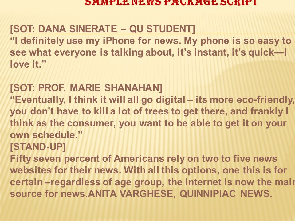 Sample news package script