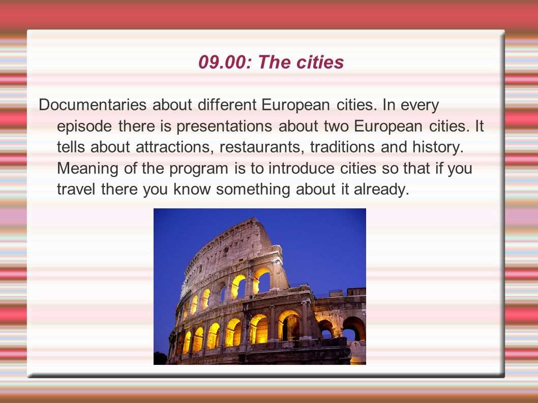 09.00: The cities
