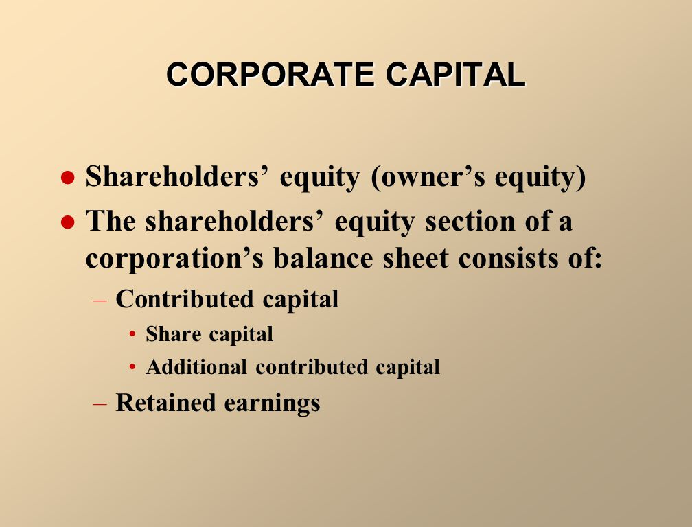 CORPORATE CAPITAL Shareholders' equity (owner's equity)