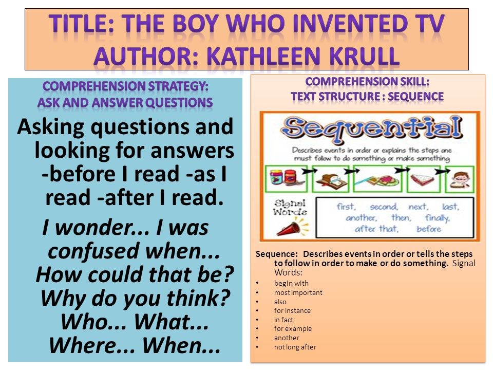 Title: The Boy Who Invented TV Author: Kathleen Krull