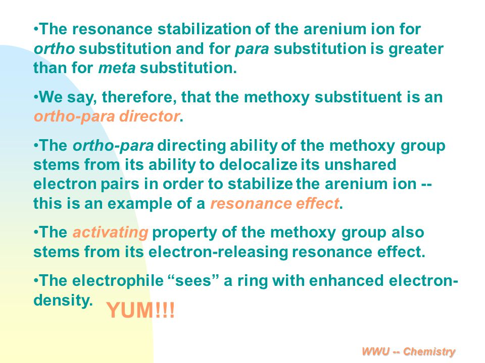 The resonance stabilization of the arenium ion for ortho substitution and for para substitution is greater than for meta substitution.