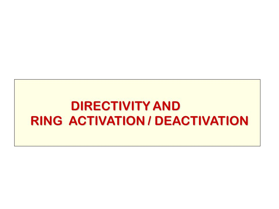 DIRECTIVITY AND RING ACTIVATION / DEACTIVATION