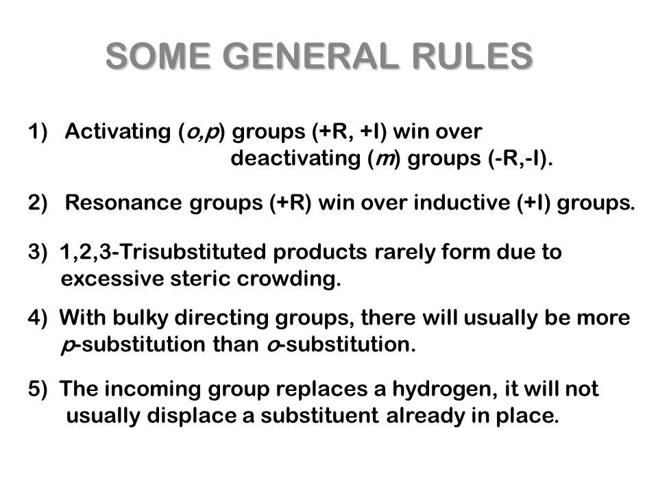 SOME GENERAL RULES 1) Activating (o,p) groups (+R, +I) win over