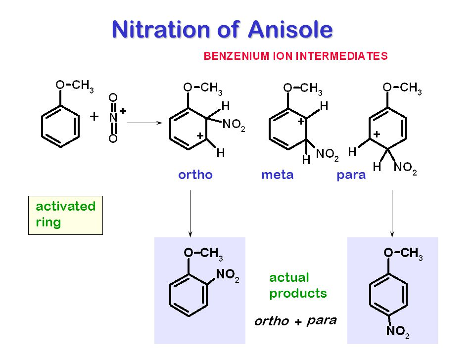 Nitration of Anisole ortho meta para activated ring actual products