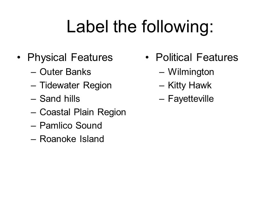 Label the following: Physical Features Political Features Outer Banks
