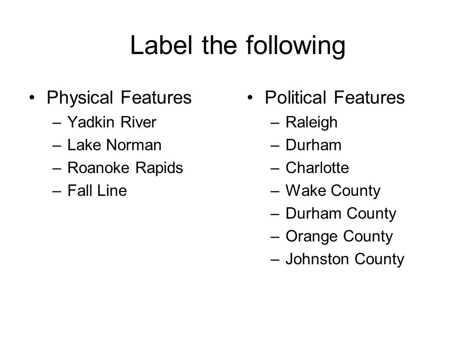 Label the following Physical Features Political Features Yadkin River