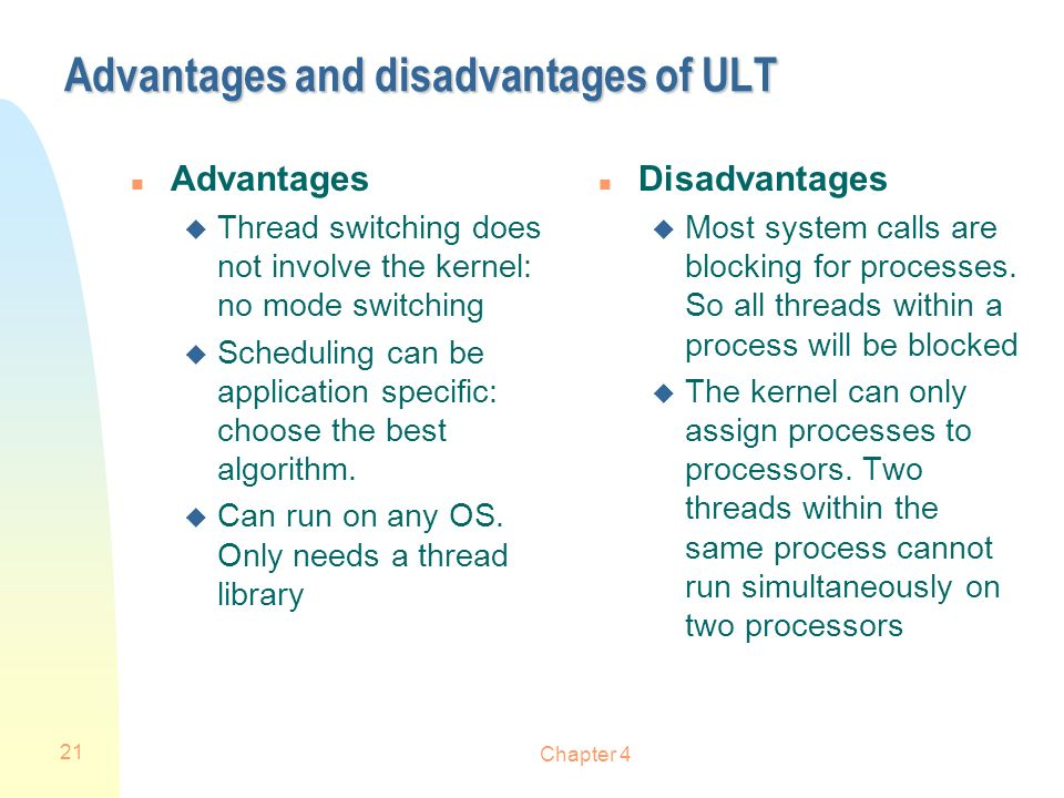 Advantages and disadvantages of ULT