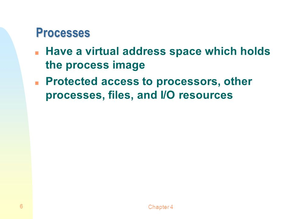 Processes Have a virtual address space which holds the process image