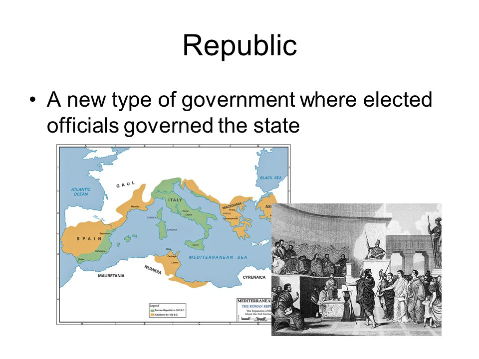 Republic A new type of government where elected officials governed the state