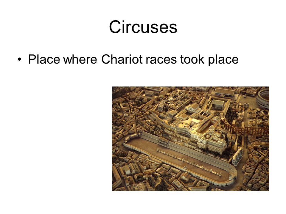 Circuses Place where Chariot races took place