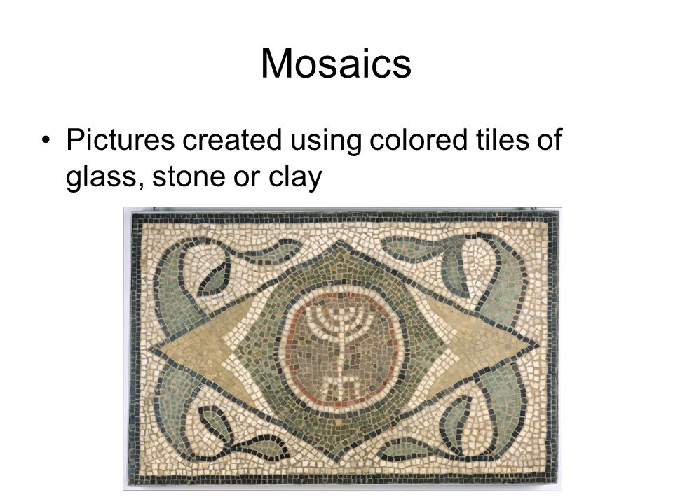 Mosaics Pictures created using colored tiles of glass, stone or clay