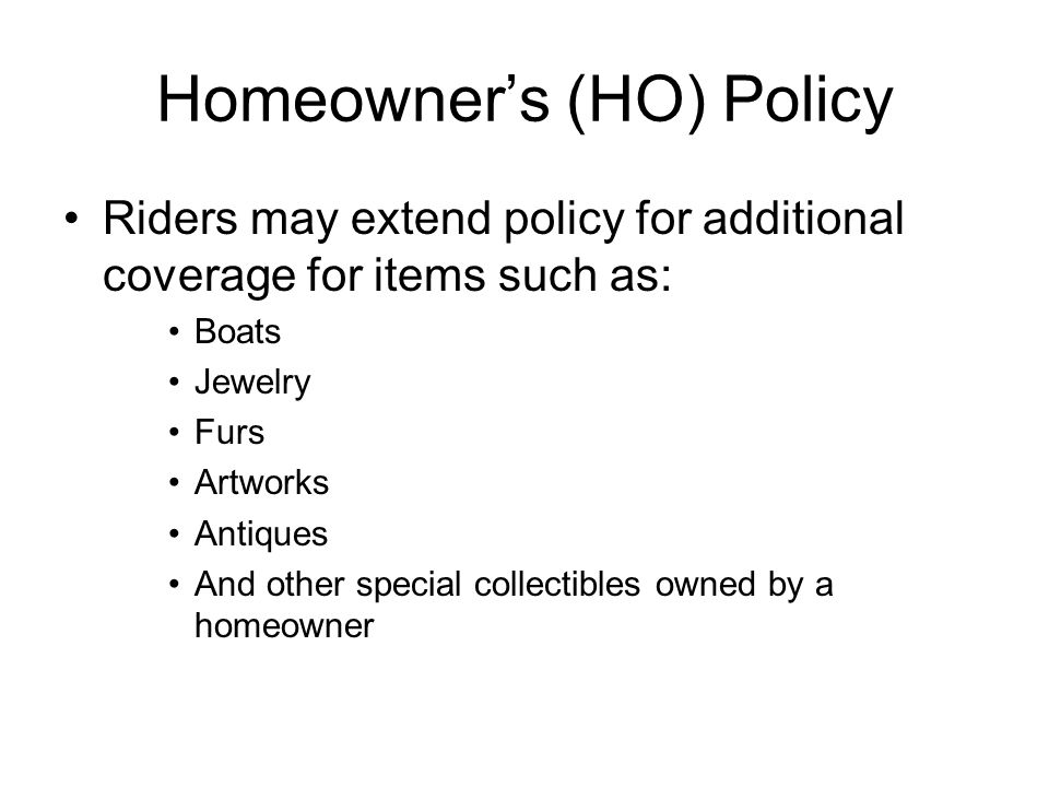 Homeowner's (HO) Policy