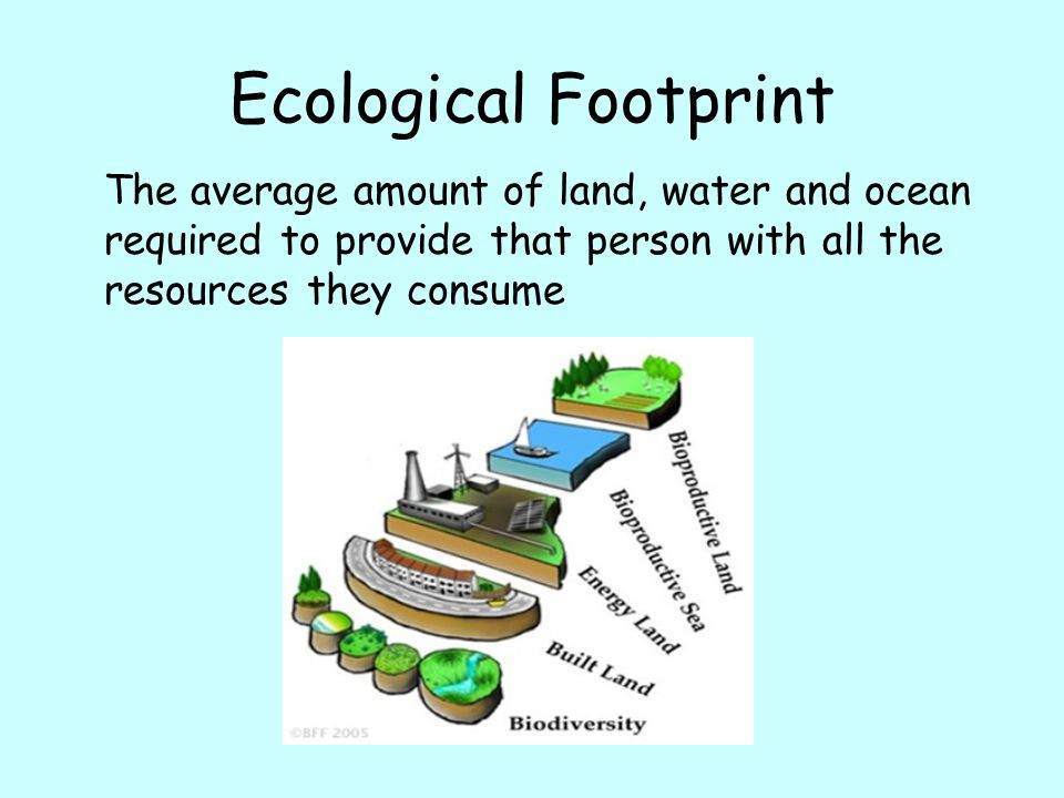 Ecological Footprint The average amount of land, water and ocean required to provide that person with all the resources they consume.