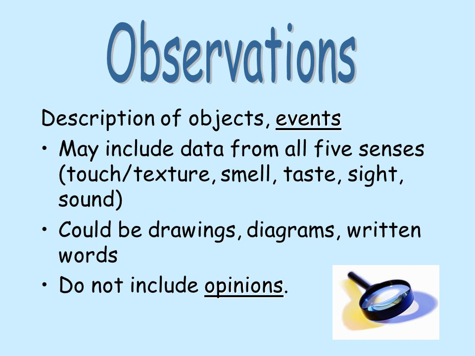 Description of objects, events