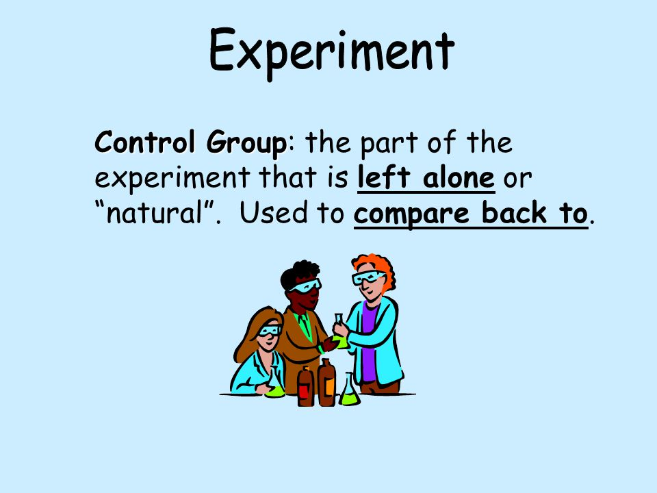 Experiment Control Group: the part of the experiment that is left alone or natural .