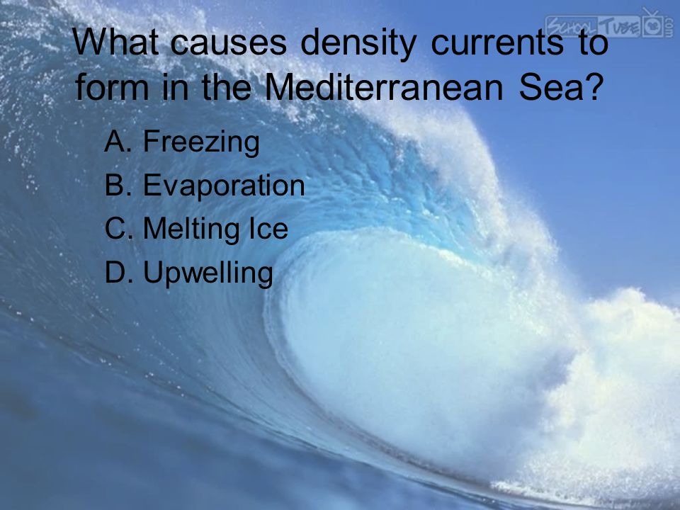 What causes density currents to form in the Mediterranean Sea