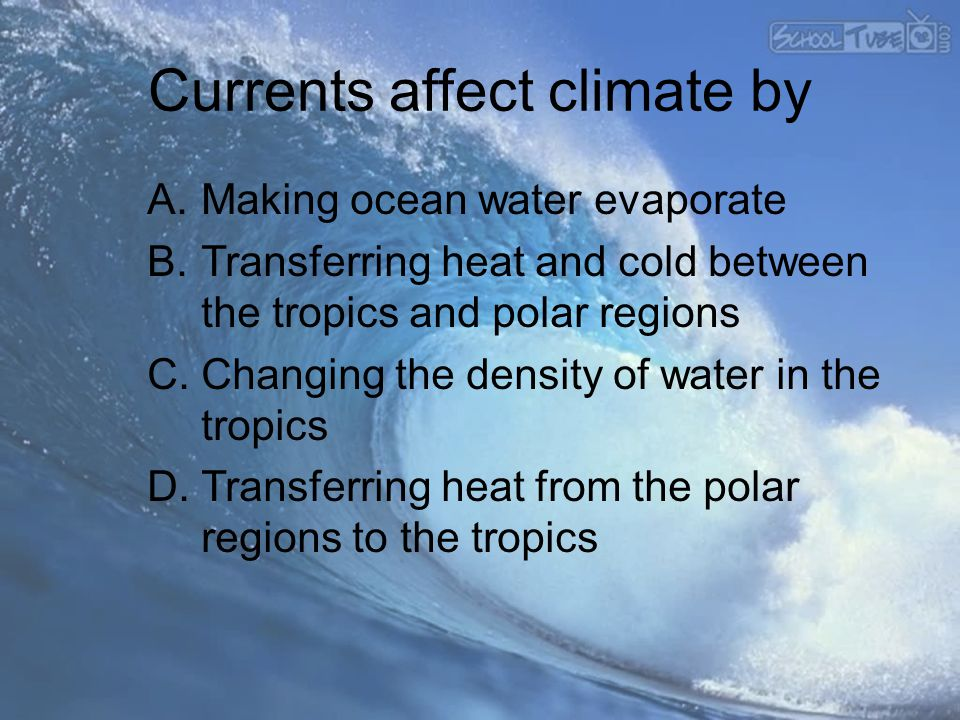 Currents affect climate by