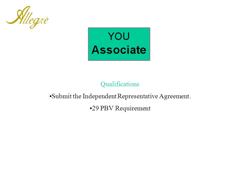 Submit the Independent Representative Agreement.