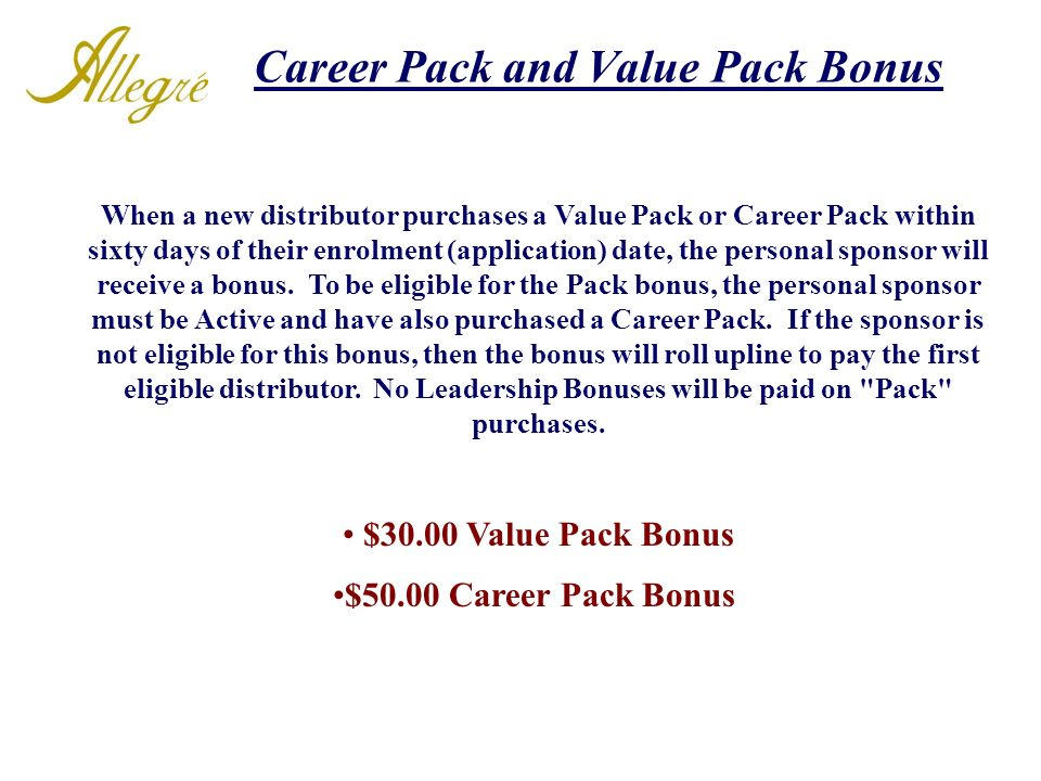 Career Pack and Value Pack Bonus