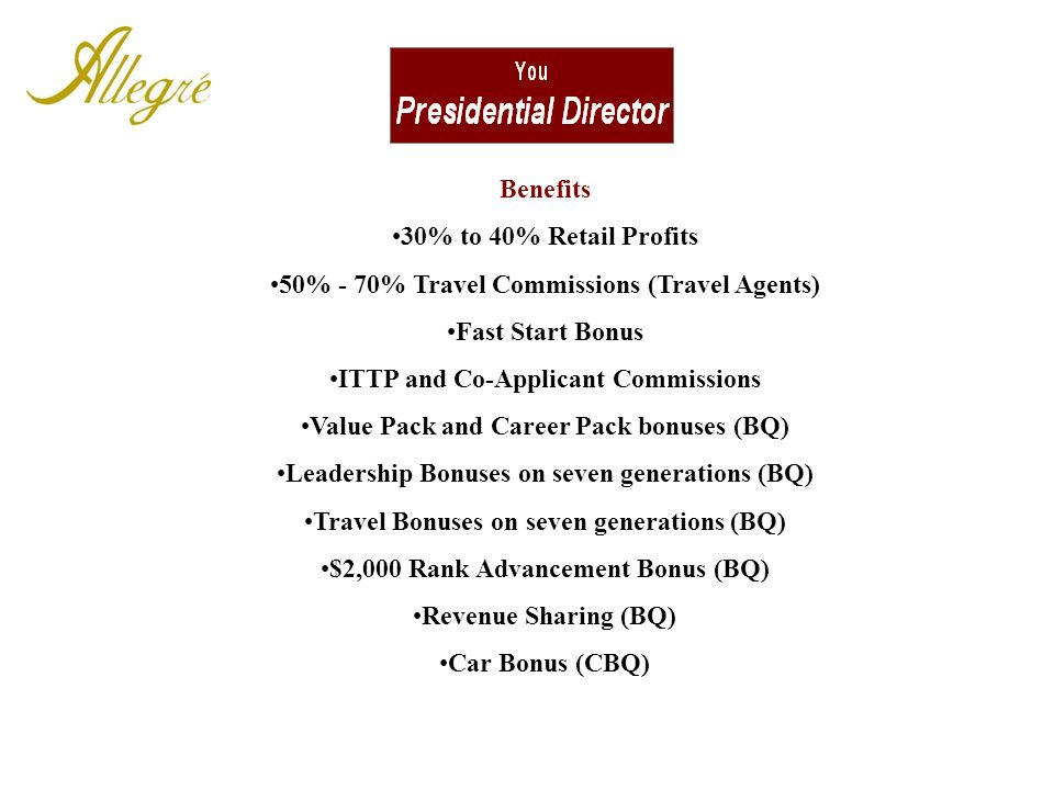 50% - 70% Travel Commissions (Travel Agents) Fast Start Bonus
