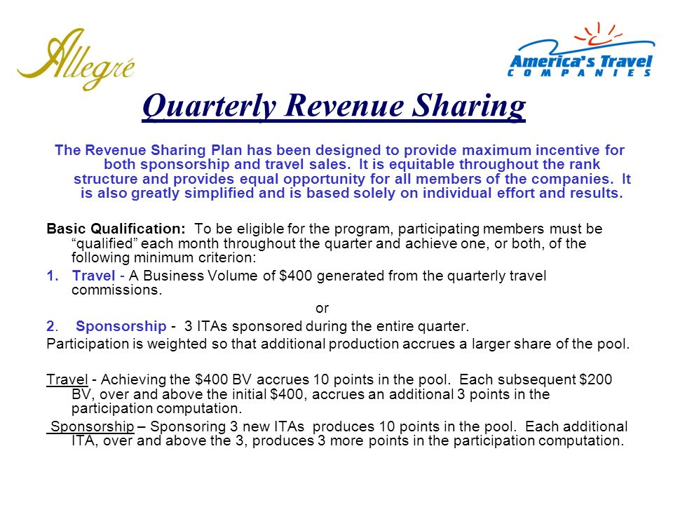 Quarterly Revenue Sharing
