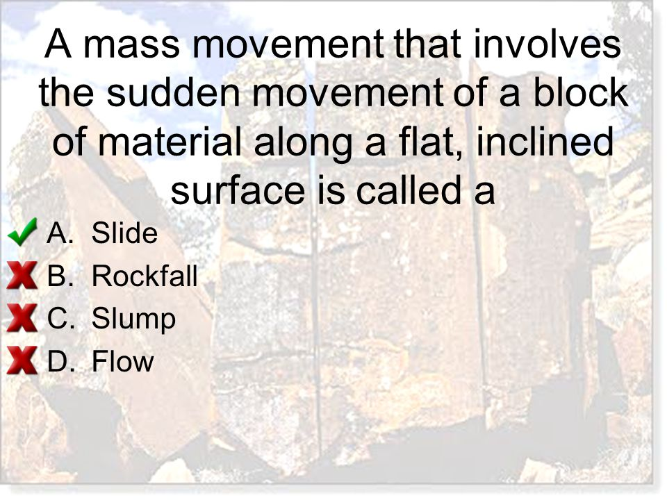 A mass movement that involves the sudden movement of a block of material along a flat, inclined surface is called a